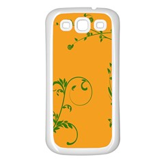 Nature Leaf Green Orange Samsung Galaxy S3 Back Case (white) by Alisyart