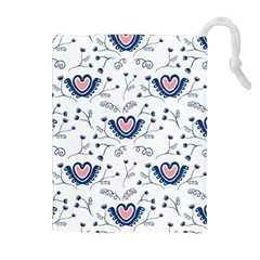 Heart Love Valentine Flower Floral Purple Drawstring Pouches (extra Large) by Alisyart
