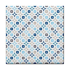 Plaid Line Chevron Wave Blue Grey Circle Face Towel by Alisyart