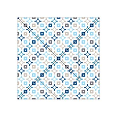 Plaid Line Chevron Wave Blue Grey Circle Acrylic Tangram Puzzle (4  X 4 ) by Alisyart