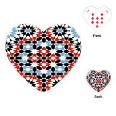 Oriental Star Plaid Triangle Red Black Blue White Playing Cards (heart)  by Alisyart