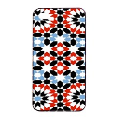 Oriental Star Plaid Triangle Red Black Blue White Apple Iphone 4/4s Seamless Case (black) by Alisyart