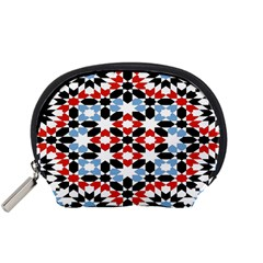 Oriental Star Plaid Triangle Red Black Blue White Accessory Pouches (small)  by Alisyart
