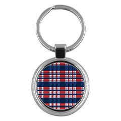 Plaid Red White Blue Key Chains (round)  by Alisyart