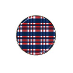 Plaid Red White Blue Hat Clip Ball Marker (4 Pack) by Alisyart