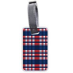 Plaid Red White Blue Luggage Tags (one Side)  by Alisyart