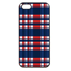 Plaid Red White Blue Apple Iphone 5 Seamless Case (black) by Alisyart