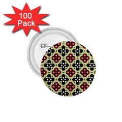 Seamless Floral Flower Star Red Black Grey 1 75  Buttons (100 Pack)  by Alisyart