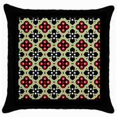 Seamless Floral Flower Star Red Black Grey Throw Pillow Case (black) by Alisyart