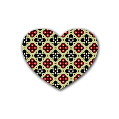 Seamless Floral Flower Star Red Black Grey Heart Coaster (4 Pack)  by Alisyart