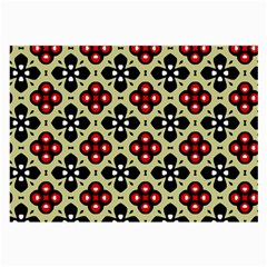 Seamless Floral Flower Star Red Black Grey Large Glasses Cloth (2 Side) by Alisyart