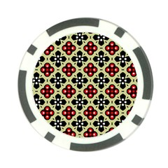 Seamless Floral Flower Star Red Black Grey Poker Chip Card Guard (10 Pack) by Alisyart