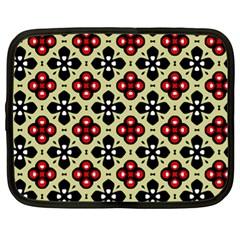 Seamless Floral Flower Star Red Black Grey Netbook Case (xl)  by Alisyart