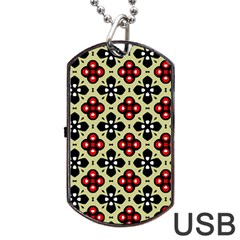 Seamless Floral Flower Star Red Black Grey Dog Tag Usb Flash (two Sides) by Alisyart