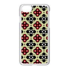 Seamless Floral Flower Star Red Black Grey Apple Iphone 7 Seamless Case (white) by Alisyart