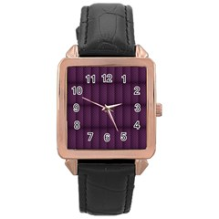 Plaid Purple Rose Gold Leather Watch  by Alisyart