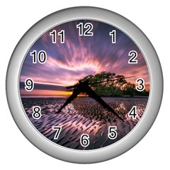 Landscape Reflection Waves Ripples Wall Clocks (silver)  by Amaryn4rt