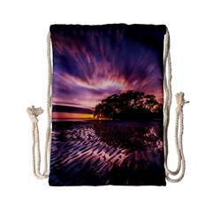 Landscape Reflection Waves Ripples Drawstring Bag (small) by Amaryn4rt