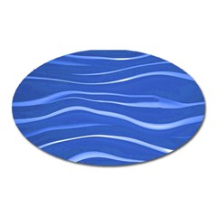 Lines Swinging Texture  Blue Background Oval Magnet by Amaryn4rt