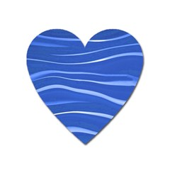 Lines Swinging Texture  Blue Background Heart Magnet by Amaryn4rt