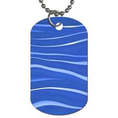 Lines Swinging Texture  Blue Background Dog Tag (two Sides) by Amaryn4rt