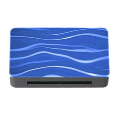 Lines Swinging Texture  Blue Background Memory Card Reader With Cf by Amaryn4rt