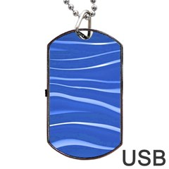 Lines Swinging Texture  Blue Background Dog Tag Usb Flash (two Sides) by Amaryn4rt