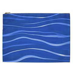 Lines Swinging Texture  Blue Background Cosmetic Bag (xxl)  by Amaryn4rt
