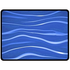 Lines Swinging Texture  Blue Background Double Sided Fleece Blanket (large)  by Amaryn4rt