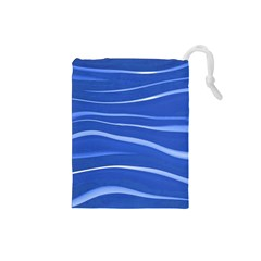 Lines Swinging Texture  Blue Background Drawstring Pouches (small)  by Amaryn4rt