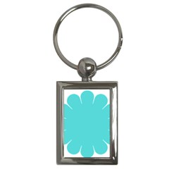 Turquoise Flower Blue Key Chains (rectangle)  by Alisyart