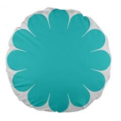 Turquoise Flower Blue Large 18  Premium Flano Round Cushions by Alisyart