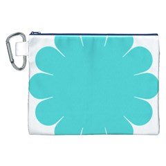 Turquoise Flower Blue Canvas Cosmetic Bag (xxl) by Alisyart