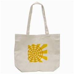 Weaving Hole Yellow Circle Tote Bag (cream) by Alisyart