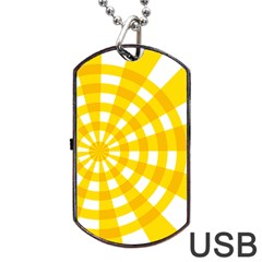 Weaving Hole Yellow Circle Dog Tag Usb Flash (two Sides) by Alisyart