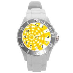 Weaving Hole Yellow Circle Round Plastic Sport Watch (l) by Alisyart