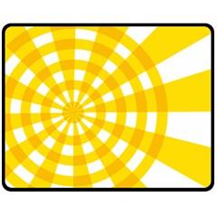 Weaving Hole Yellow Circle Double Sided Fleece Blanket (medium)  by Alisyart