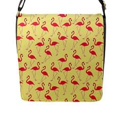 Flamingo Pattern Flap Messenger Bag (l)  by Valentinaart