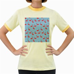 Flamingo Pattern Women s Fitted Ringer T Shirts by Valentinaart