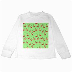 Flamingo Pattern Kids Long Sleeve T Shirts by Valentinaart