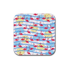 Flamingo Pattern Rubber Square Coaster (4 Pack)  by Valentinaart