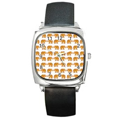 Indian Elephant  Square Metal Watch by Valentinaart