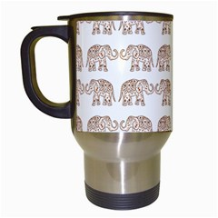 Indian Elephant Travel Mugs (white) by Valentinaart