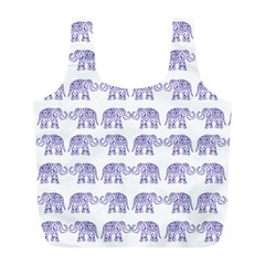 Indian Elephant Pattern Full Print Recycle Bags (l)  by Valentinaart