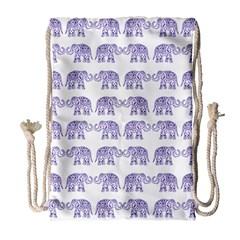 Indian Elephant Pattern Drawstring Bag (large) by Valentinaart