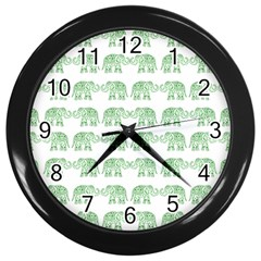 Indian Elephant Pattern Wall Clocks (black) by Valentinaart