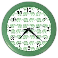 Indian Elephant Pattern Color Wall Clocks by Valentinaart