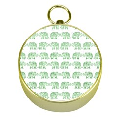 Indian Elephant Pattern Gold Compasses by Valentinaart