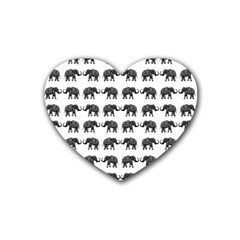 Indian Elephant Pattern Rubber Coaster (heart)  by Valentinaart