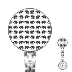 Indian Elephant Pattern Stainless Steel Nurses Watch by Valentinaart